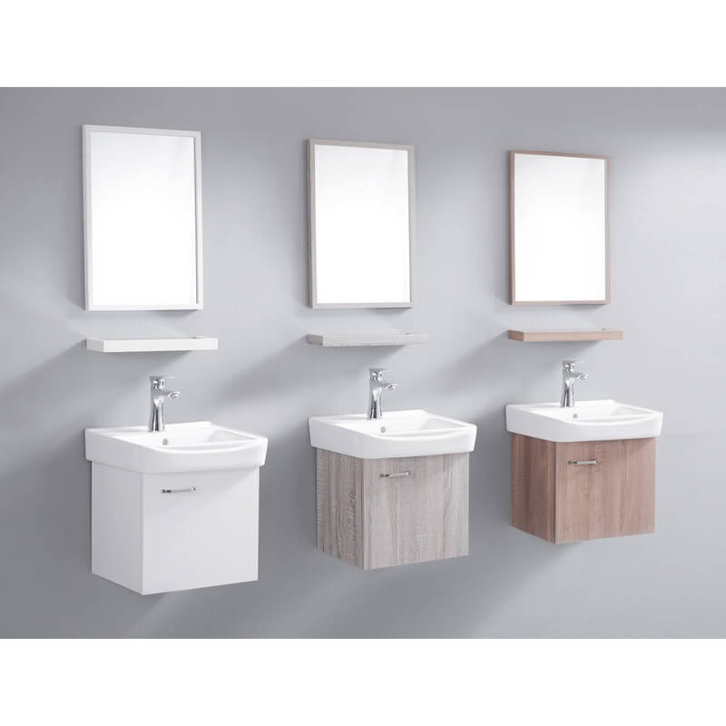 Meuble suspendu ch ne blanchi avec simple vasque salle de - Petit meuble colonne salle de bain ...