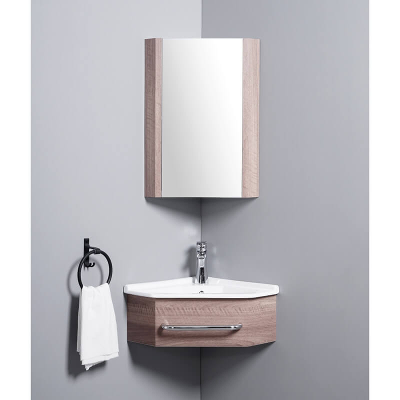 Meuble suspendu couleur bois kara lave main d 39 angle rue - Meuble d angle pour salle de bain ...