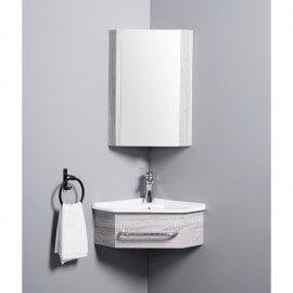 Meuble de Salle de Bain d'Angle Gain de Place - Lave Main - Fil Blanchi - 42x42 cm - Kara