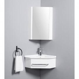 Meuble de Salle de Bain d'Angle Gain de Place - Lave Main - Blanc Crème - 42x42 cm - Kara