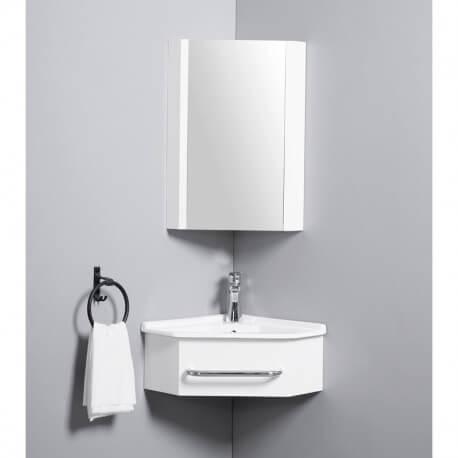 Meuble de Salle de Bain d\'Angle Gain de Place - Lave Main - Blanc Crème -  42x42 cm - Kara