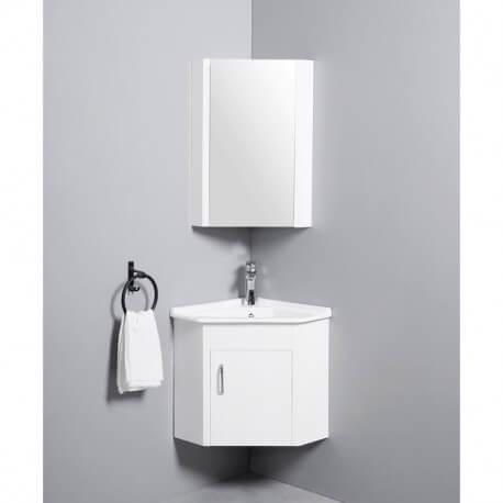 Meuble de Salle de Bain d'Angle Gain de Place - Lave Main - Blanc Crème - 42x42 cm - Corner | Rue du Bain