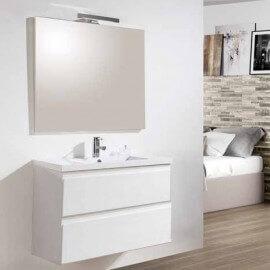 Meuble de salle de bain suspendu Blanc 80 cm - 2 tiroirs - Vasque - Miroir lampe led - City