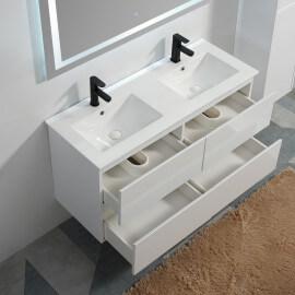 Meuble de salle de bain 4 tiroirs + vasque et miroir Led 120x46 cm, blanc, Mia