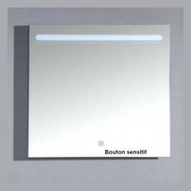 Miroir Carré lumineux de salle de bain - Rétro-éclairage avec bandeau LED en haut - 80x80 cm - Zen