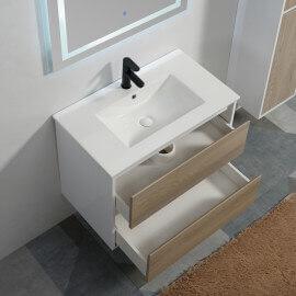 Meuble suspendu Scandinave vasque 80 cm et miroir Connec't Led 80 cm