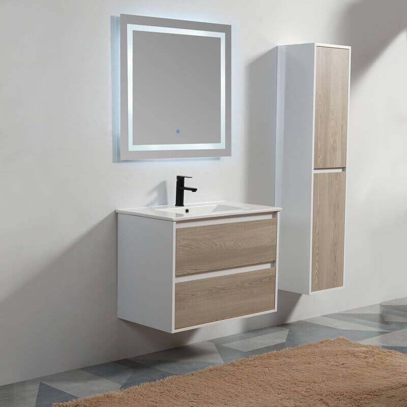 Pack meuble suspendu vasque tiroirs et miroir led 80 cm ...