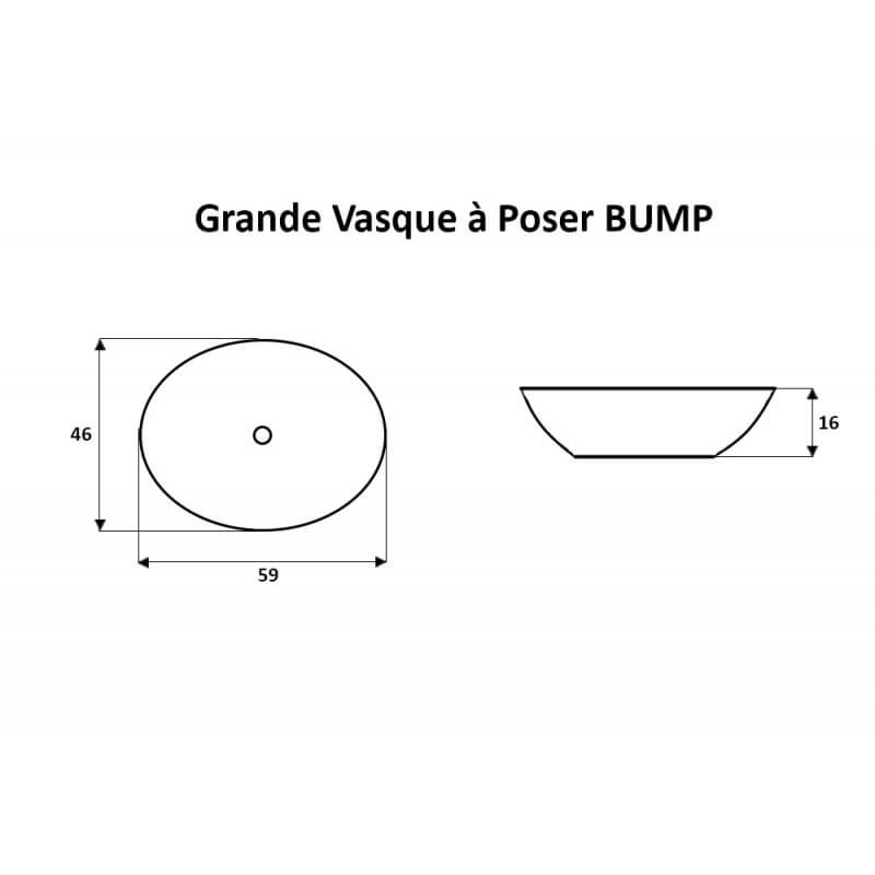 vasque ovale poser 59x46x16 cm c ramique blanc dump. Black Bedroom Furniture Sets. Home Design Ideas