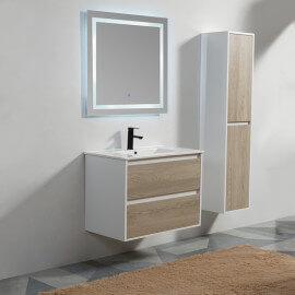 Meuble de salle de bain 2 tiroirs + vasque et miroir Led 80x46 cm, bois, Mia