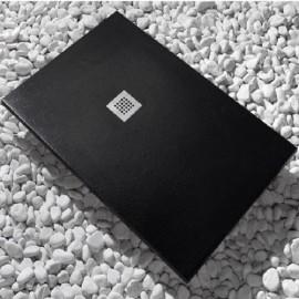Receveur de Douche, 120x80cm, composite Noir Graphit