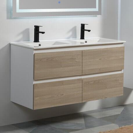 Meuble de salle de bain 4 Tiroirs - Blanc et Chêne Gris - Double vasque -  120x46 cm - Scandinave