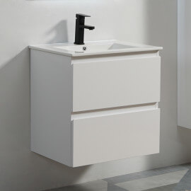 Meuble de salle de bain 2 Tiroirs - Blanc - Vasque - 60x46 cm - City | Rue du Bain
