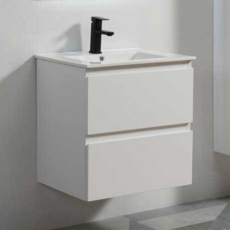 Meuble de salle de bain 2 tiroirs + vasque et miroir Led 60x46 cm, Blanc, Mia