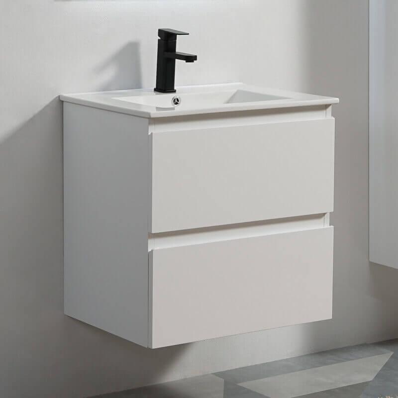 Meuble suspendu laqué blanc 2 tiroirs vasque, City | Rue du Bain