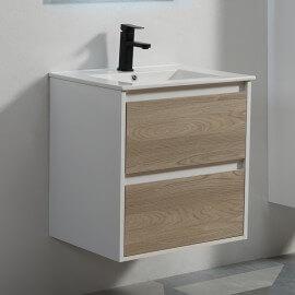 Meuble de salle de bain 2 tiroirs - Blanc et Chêne Gris - Vasque - 60 x 46 cm - Scandinave | Rue du Bain