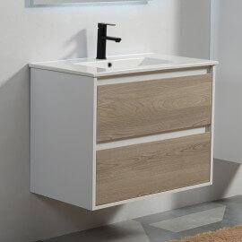 Meuble de salle de bain 2 Tiroirs - Blanc et Chêne Gris - Vasque - 80x46 cm - Scandinave | Rue du Bain