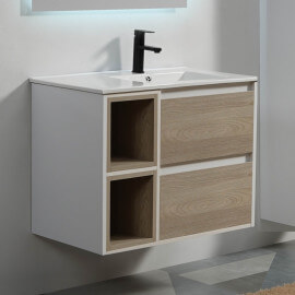 Meuble de salle de bain 2 tiroirs 2 niches 80x46 cm - Blanc et Chêne Gris - Scandinave | Rue du Bain