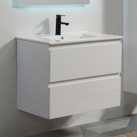 Meuble de salle de bain 2 tiroirs - Blanc - Vasque - 80x46 cm - City