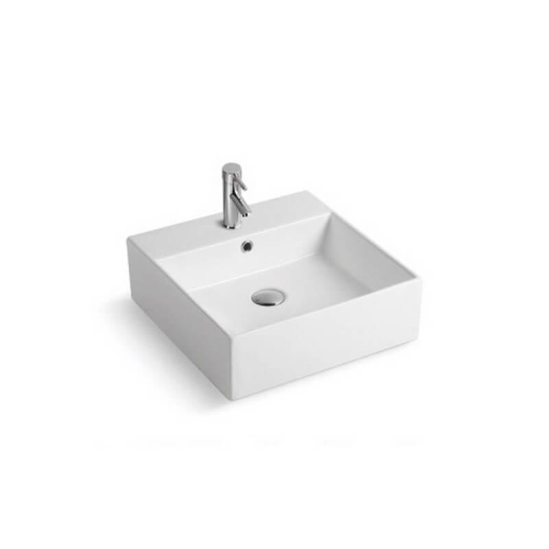 vasque carr e c ramique blanc quadra vasque poser carr rue du bain. Black Bedroom Furniture Sets. Home Design Ideas