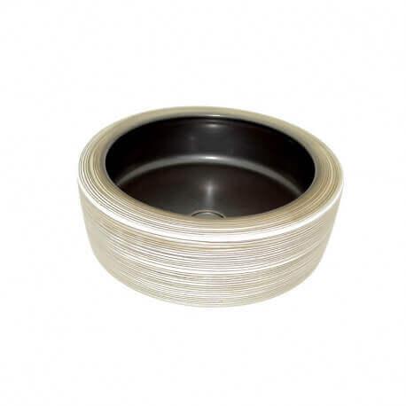 Vasque à Poser Ronde - Céramique rainurée Beige et Marron - 41 cm – Cappuccino