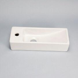 Lave main Rectangulaire Gain de place Gauche - Céramique Blanc - 38x15 cm - Minimalist