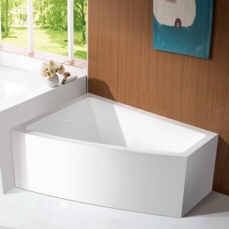 Baignoire d'Angle à Gauche Bain Douche Asymétrique - Acrylique Blanc -160x120 cm - Kingston