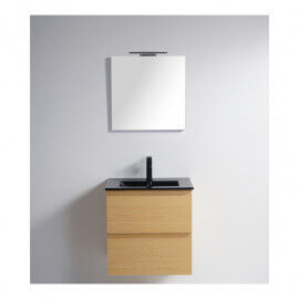 Pack Meuble de salle de bain Vasque Noir Mat Bali 60 cm + Miroir LED Classic City 60