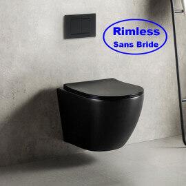 WC Suspendu Ovale - Avec Abattant - Céramique Noir Brillant - Sans Bride - 49x36 cm - Cort
