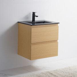 Meuble de salle de bain 2 Tiroirs - Chêne clair - Vasque Céramique Noir Mat - 60x46 cm - Bali