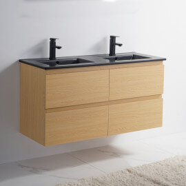 Meuble de salle de bain 4 Tiroirs - Chêne clair - Double vasque Céramique Noir Mat - 120x46 cm - Bali | Rue du Bain