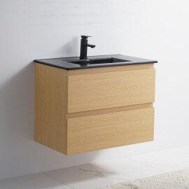 Meuble de salle de bain 2 Tiroirs - Chêne clair - Vasque Céramique Noir Mat - 80x46 cm - Bali | Rue du Bain