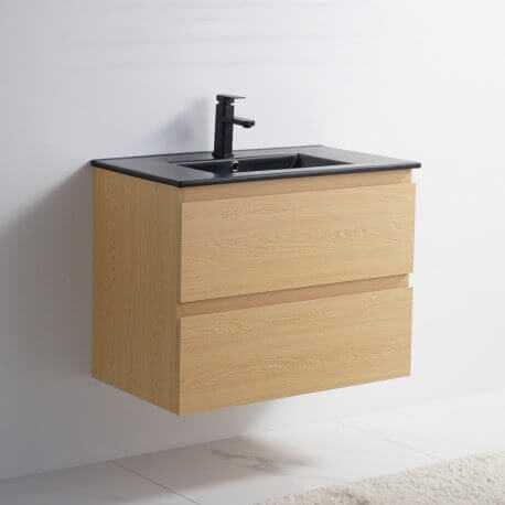 Meuble de salle de bain 2 Tiroirs - Chêne clair - Vasque Céramique Noir Mat - 80x46 cm - Bali   Rue du Bain