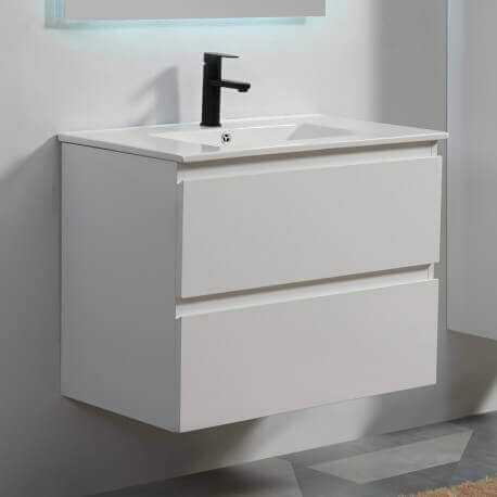 Meuble de salle de bain 2 Tiroirs - Blanc - Vasque - 90x46 cm - City