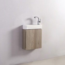 Meuble Lave main - Chêne Gris - Scandinave - 38x15 cm - Minimalist