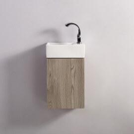 Meuble Lave main - Blanc et Chêne Gris - Scandinave - 30x18 cm - Essento | Rue du Bain