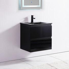 Meuble de salle de bain 2 Tiroirs - Noir - Vasque - 60x46 cm - Dark | Rue du Bain