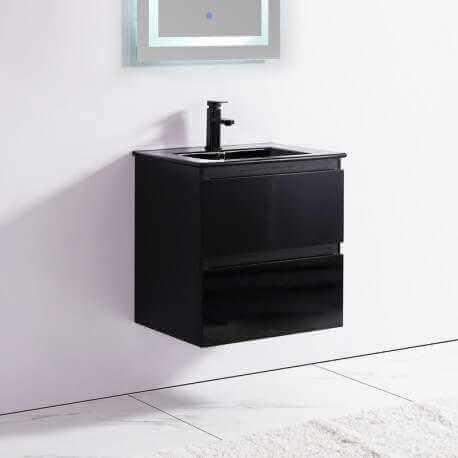Meuble de salle de bain 2 Tiroirs - Noir - Vasque - 60x46 cm - Dark   Rue du Bain