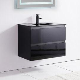 Meuble de salle de bain 2 Tiroirs - Noir - Vasque - 80x46 cm - Dark | Rue du Bain