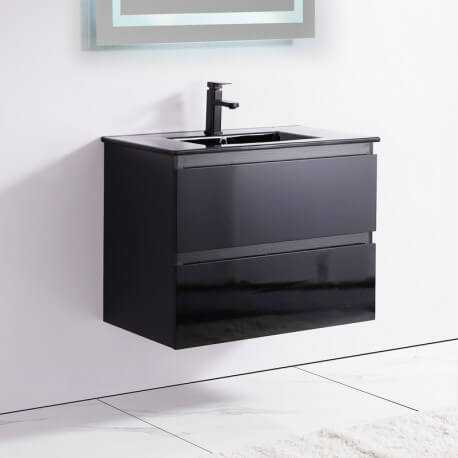 Meuble de salle de bain 2 Tiroirs - Noir - Vasque - 80x46 cm - Dark   Rue du Bain