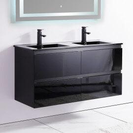 Meuble de salle de bain 4 Tiroirs - Noir - Double vasque - 120x46 cm - Dark