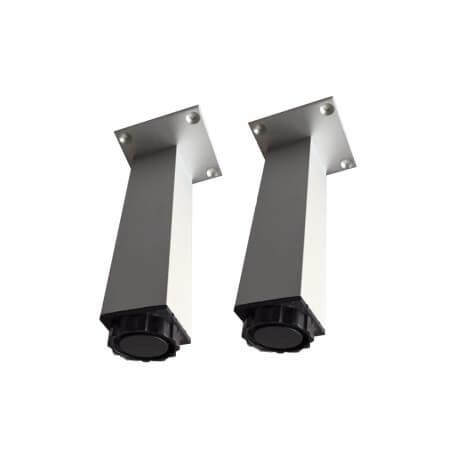 Lot de 2 pieds aluminium réglables pour meuble de salle de bain 25 cm