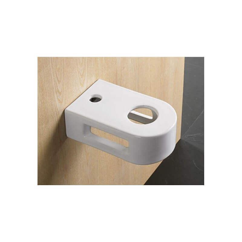 Vasque Céramique à Suspendre Avec Plage Latérale : Petit support vasque à poser rond avec porte serviette