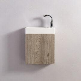 Meuble Lave main - Chêne Gris - Scandinave - 38x14 cm - Minimalist