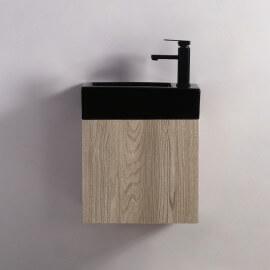 Meuble Lave main - Blanc et Chêne Gris - Scandinave - 45x24 cm - Studio
