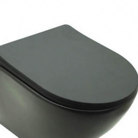 Abattant pour WC Design Suspendu Noir Mat type duroplastic - Cort |Rue du Bain