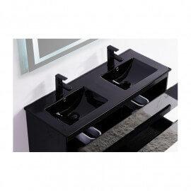 Lavabo encastrable double vasque céramique noire brillante 120 cm Dark | Rue du Bain