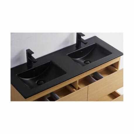 Lavabo encastrable double vasque céramique noire brillante 120 cm Dark   Rue du Bain