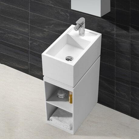 Meuble avec Lave main - Solid surface Blanc mat - 50x30 cm - Floor