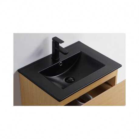Vasque céramique à encastrer - noir mat - 60x46 cm - Bali