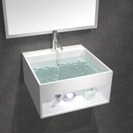 Lavabo Suspendu Carré - Solid Surface Blanc Mat - 33x33 cm - AllDay